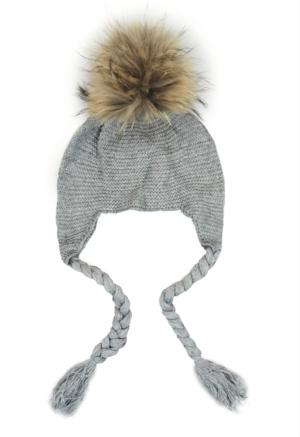 Baby Grey Bobble Earmuff Hat
