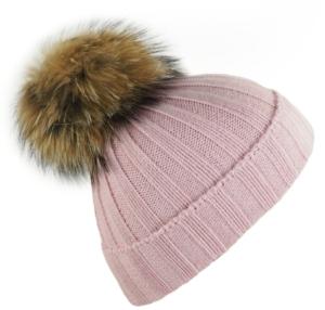 Junior Light Pink Big Fur Bobble Hat