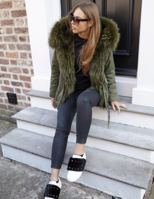 Luxury Khaki Parka With Khaki Fur