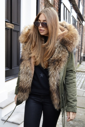 Luxury Khaki Parka With Natural Fur