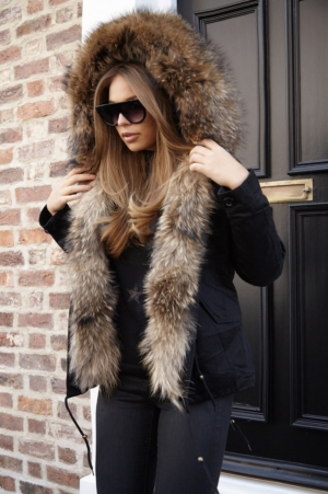 Luxury Black Parka With Natural Fur