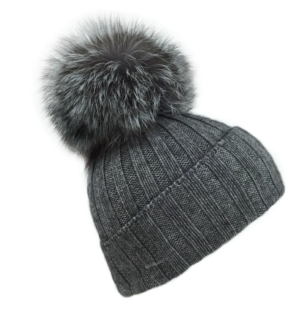 **LIMITED EDITION** Silver Fox & Grey Bobble Hat