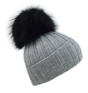 Grey On Black Giant Fur Bobble Hat