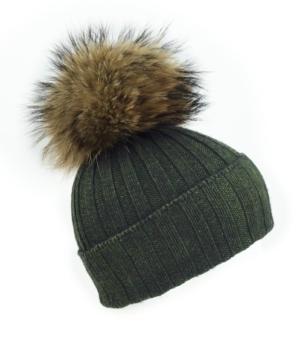 Kahki Giant Fur Bobble Hat