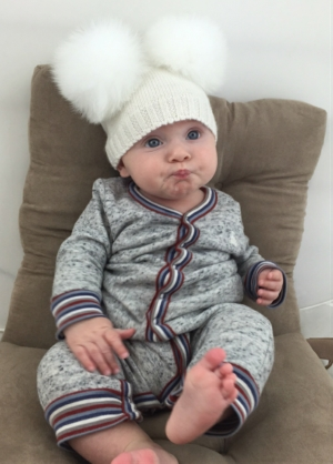 Baby DOUBLE Bobble Hat - Off White