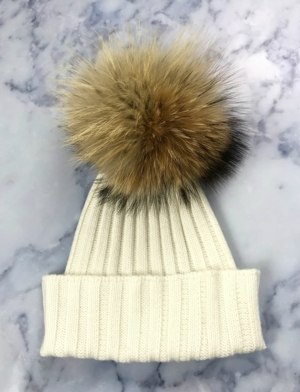 White Giant Fur Bobble Hat