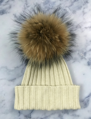 Cream Giant Fur Bobble Hat