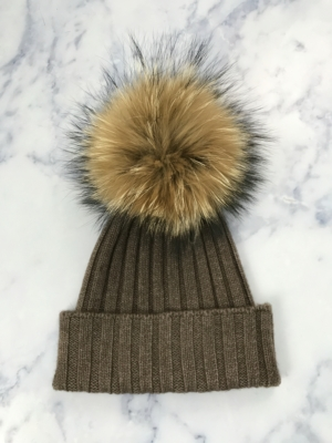 Brown Giant Fur Bobble Hat