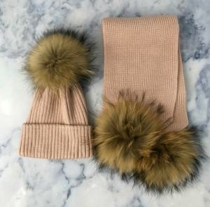 KIDS Pink Bobble Hat & Scarf Set