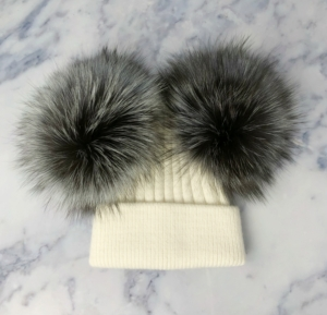 KIDS White with Silver Fox Double Bobble Hat