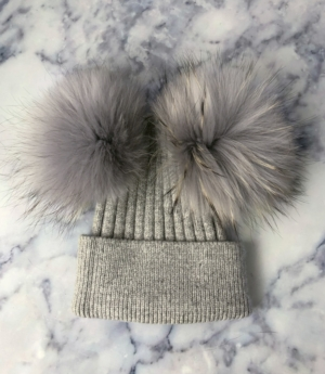 Grey With Grey Double Bobble Hat