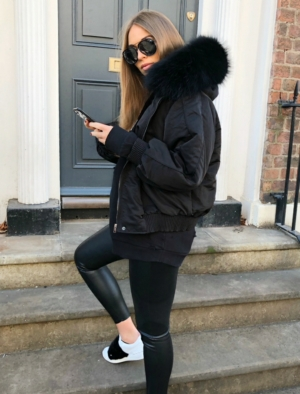 Oversized Black Bomber with Fur