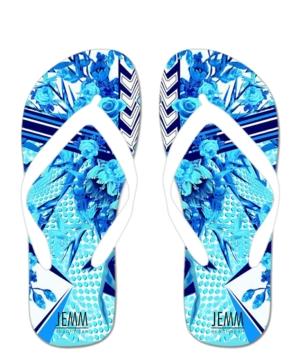 **JEMM** Blue Floral Flip Flops