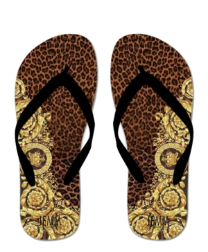 **JEMM** Beachwear Leopard & Gold Flip Flops