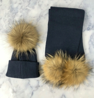 KIDS Navy Bobble Hat & Scarf Set