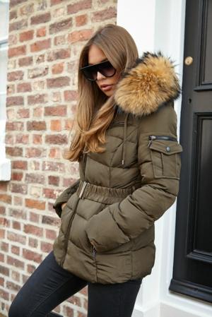 Big Natural Fur Kahki Quilted Coat