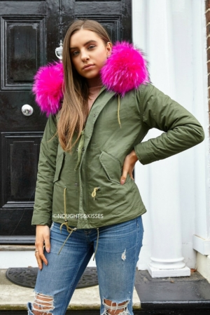 Kahki Parka With Giant Pink Fur