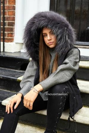 Black Parka GILET With Giant Grey Fur