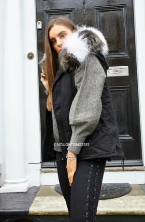 Black Parka GILET With Giant Stripe Fur