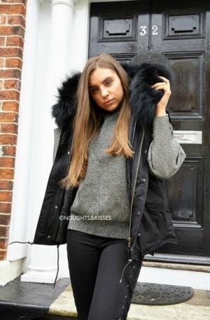 Black Parka GILET With Giant Black Fur -