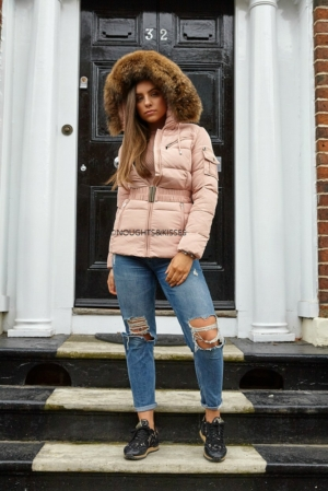 Big Fur Pale Pink Quilted Coat