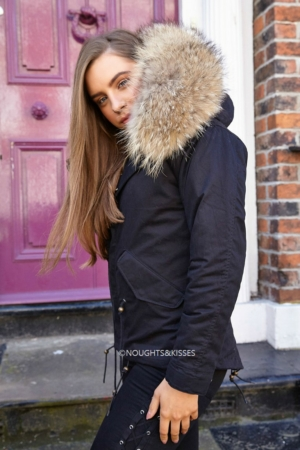Black Parka With Giant Fur