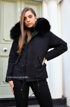 Black Parka With Giant Black Fur
