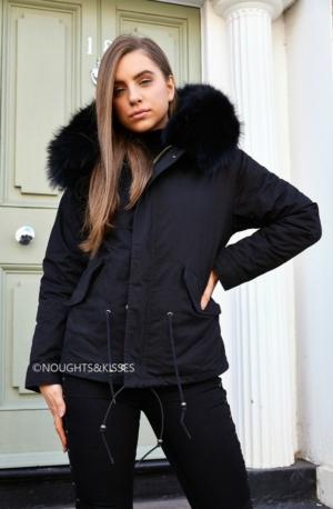 Black Parka With Giant Black Fur