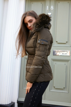 Big Fur Khaki Quilted Coat With Khaki Fur