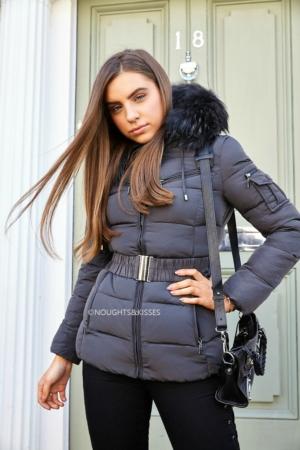 Big Fur Grey Quilted Coat With Grey Fur