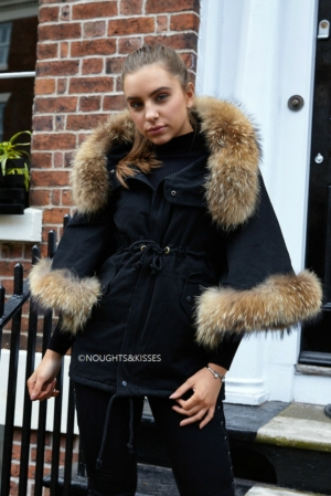 Black Parka With Batwing Fur Sleeves