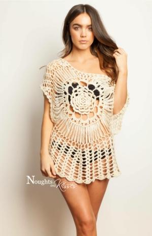 Crochet Flower Cream Mini Dress