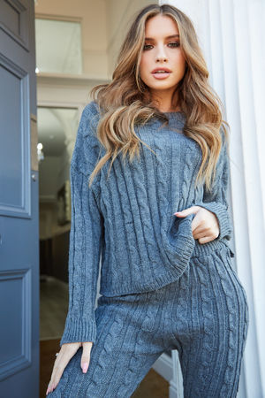 Isabella Cable Knit Grey Lounge Set