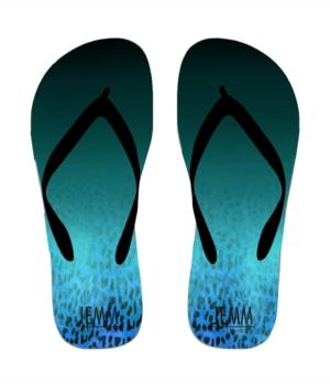 **JEMM** Beachwear Leopard Fade Flip Flops