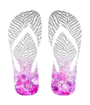 **JEMM** Beachwear Zebra Floral Fade Flip Flops