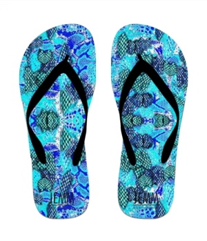 **JEMM** Beachwear Aqua Snake Flip Flops