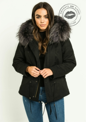 Black Parka With Giant Grey Fur