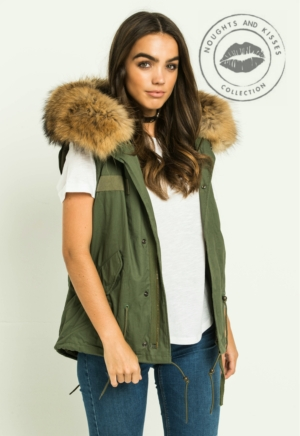 Kahki Parka GILET With Giant Fur
