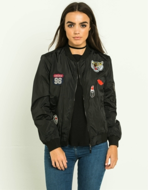 BLACK BOMBER WITH BADGES