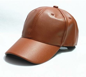 Tan Faux Leather Baseball Cap