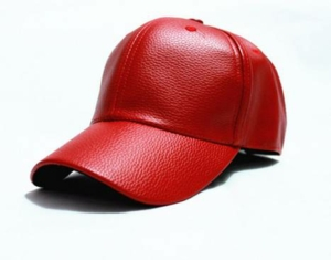 Red Faux Leather Baseball Cap