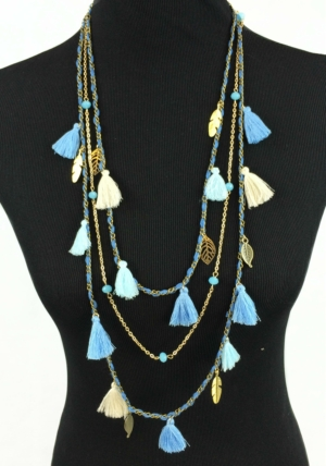Shades Of Blue Long Tassel Necklace