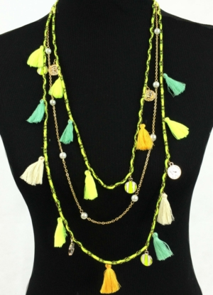 Neon Long Tassel Necklace