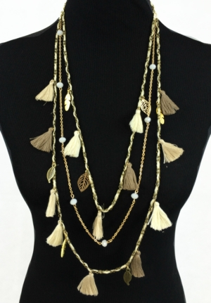 Shades Of Beige Long Tassel Necklace