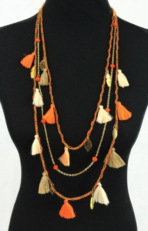 Shades Of Orange Long Tassel Necklace