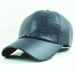 Dark Blue Snake Faux Leather Baseball Cap