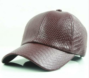 Wine Red Snake Faux Leather Baseball Cap