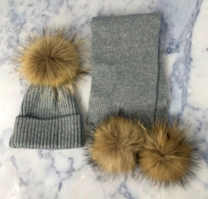 KIDS Grey Bobble Hat & Scarf Set