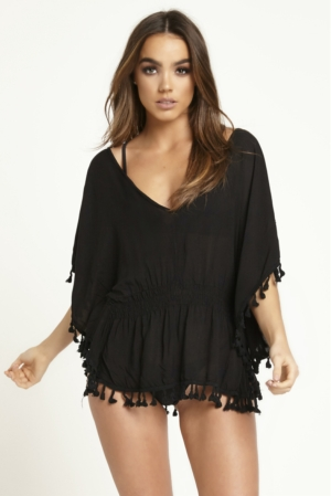 Black Backless Beach Cover Up