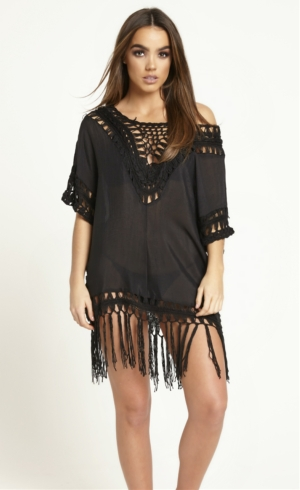 Black Crochet & Tassel Cover Up